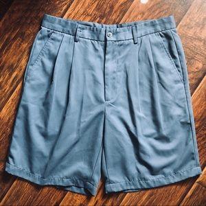 Van Heusen Blue Gray Easy Care Pleated Shorts
